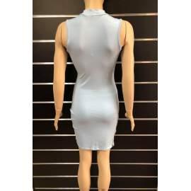 Victoria Moda elől kivágott, átlapolt miniruha - Halványkék