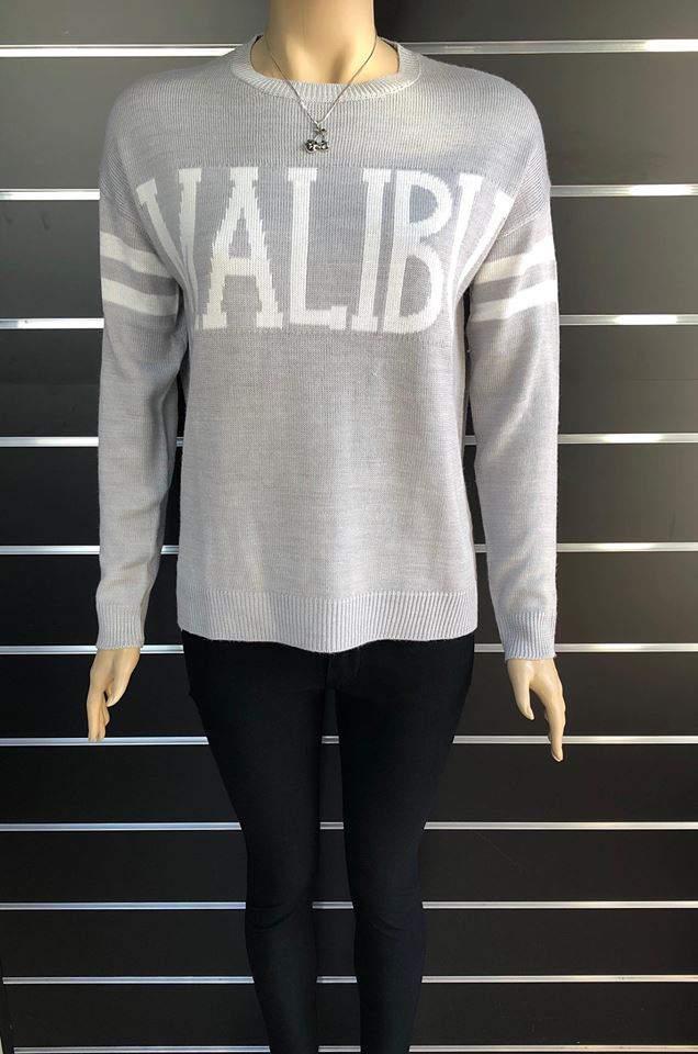 Pull&Bear női, bő fazonú kötött pulóver - Szürke