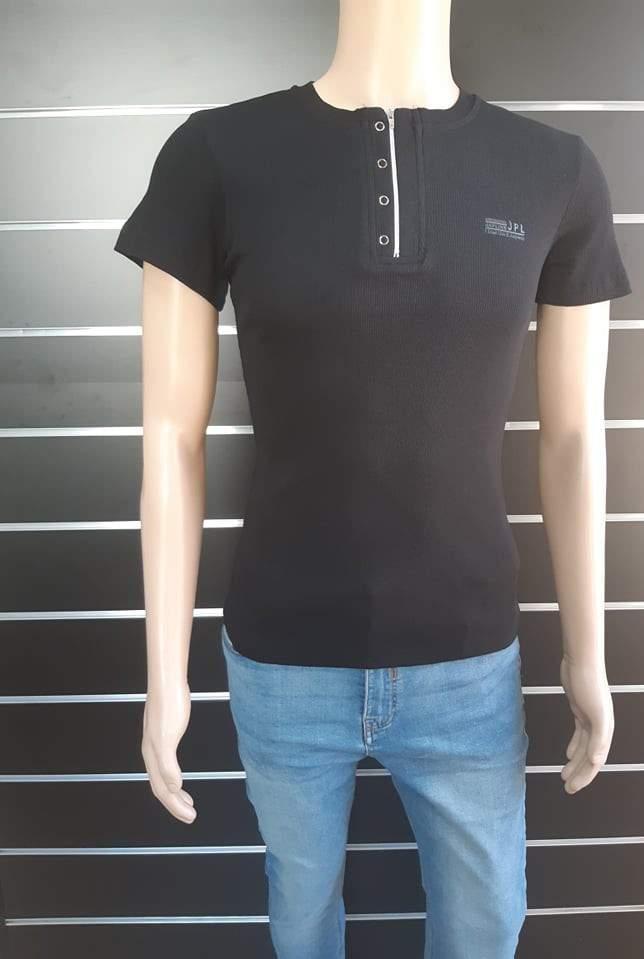Japline férfi cipzáros póló - Fekete