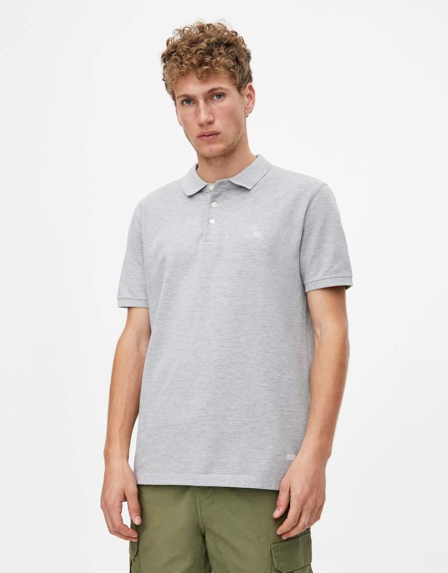 Pull&Bear férfi galléros póló - szürke